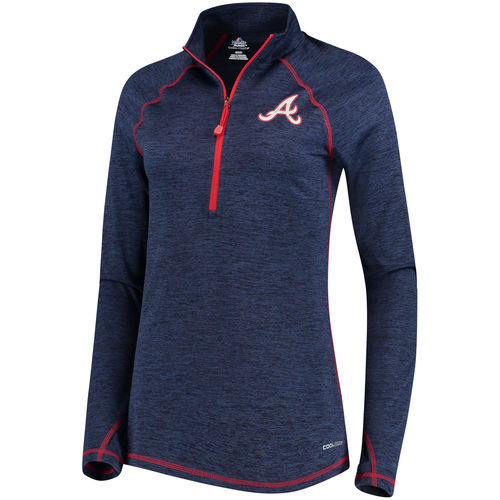 Women's Majestic Navy Atlanta Braves Don't Stop Trying Cool Base Half-Zip Pullover Jacket by