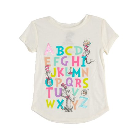 Abc Shirts (Toddler Girls Ivory Cat In The Hat ABCs T-Shirt Dr Seuss Tee)