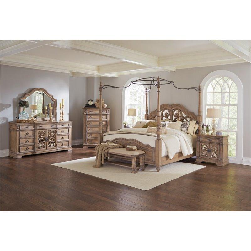 Coaster Ilana 5 Piece Queen Mirrored Canopy Bedroom Set in Cream by Coaster