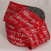 """Merry Christmas Scripted Red and Silver Wired Ribbon 3"""" x 20 yards"""