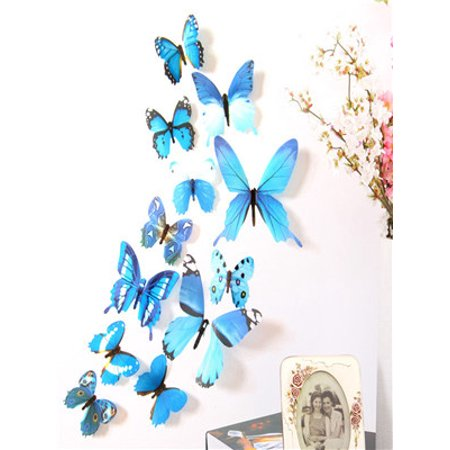 12pcs Decal Wall Stickers Home Decorations 3D Butterfly Rainbow Blue](Butterflies Decorations)