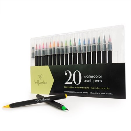 Brilliant Bee - Watercolor Brush Pens for Painting and Calligraphy (20 Pack) - Blendable, Water-Based Ink