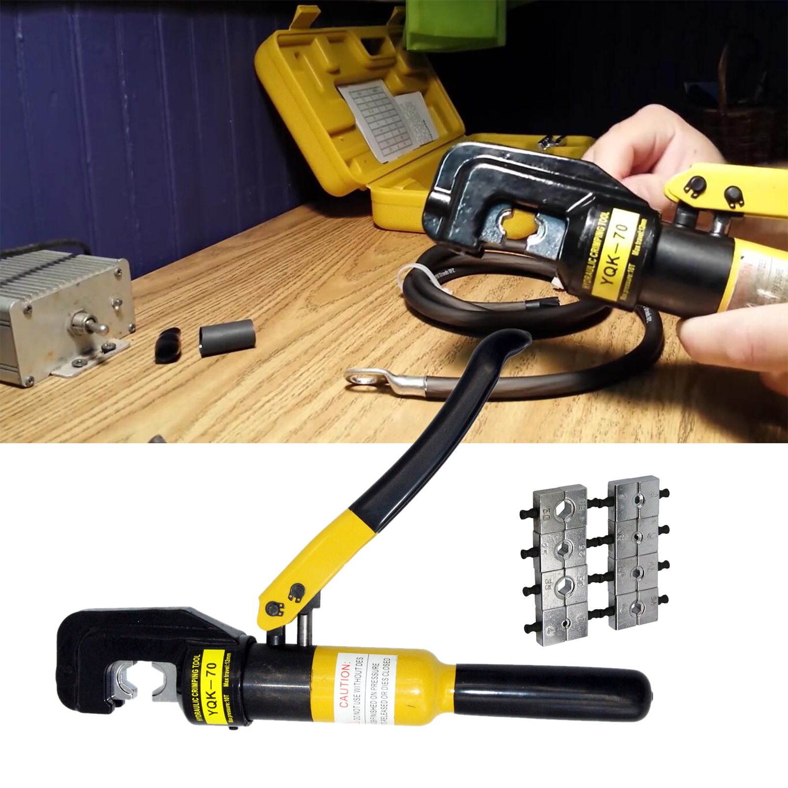 10 Ton Hydraulic Wire Battery Cable Lug Terminal Crimper Crimping Tool 9 Dies by PENSON & CO.