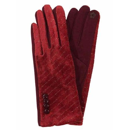 G&S Womens Metallic Red Velvet Stretch Fit Button Texting & Tech Smart Gloves