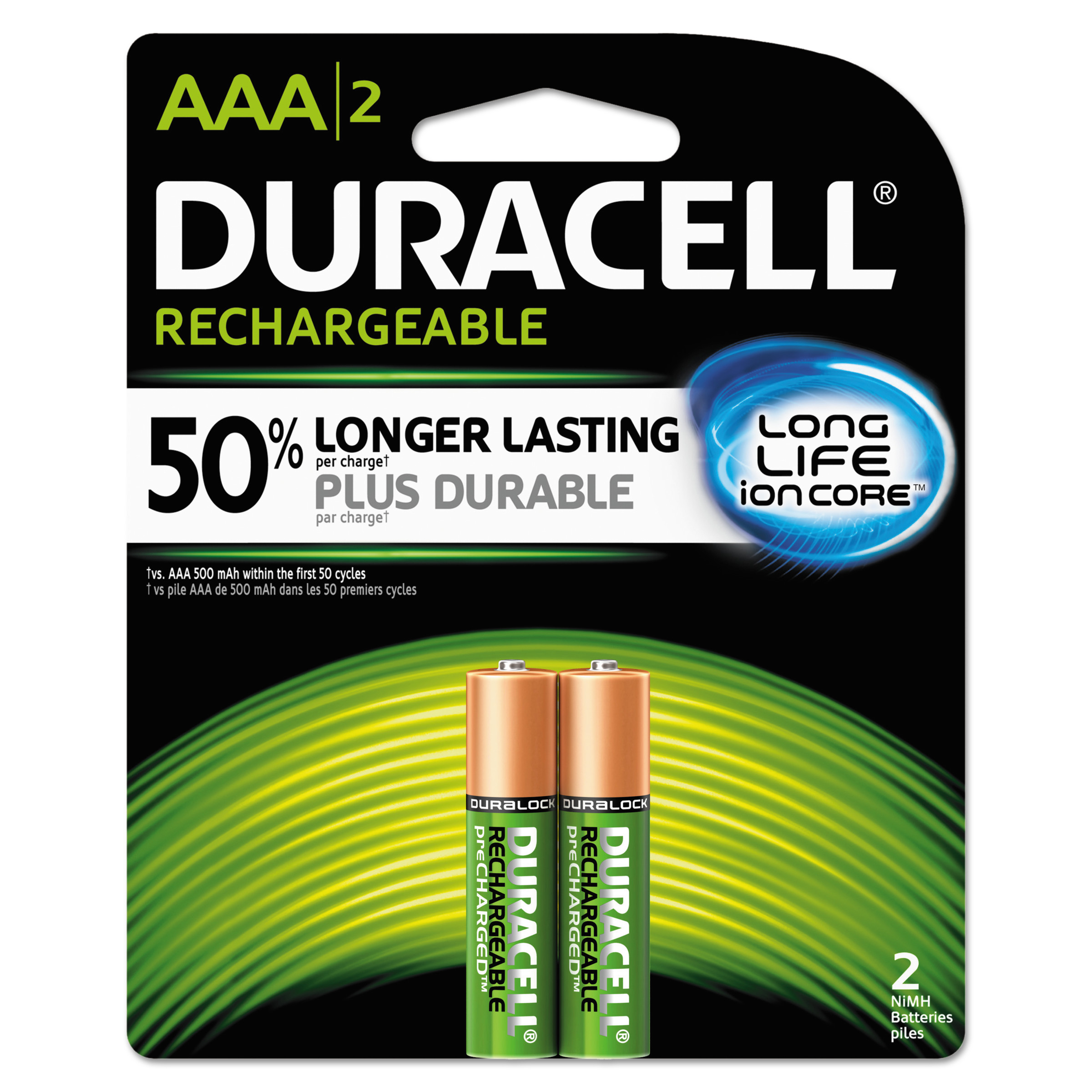 Duracell Rechargeable NiMH Batteries, AAA, 2/PK