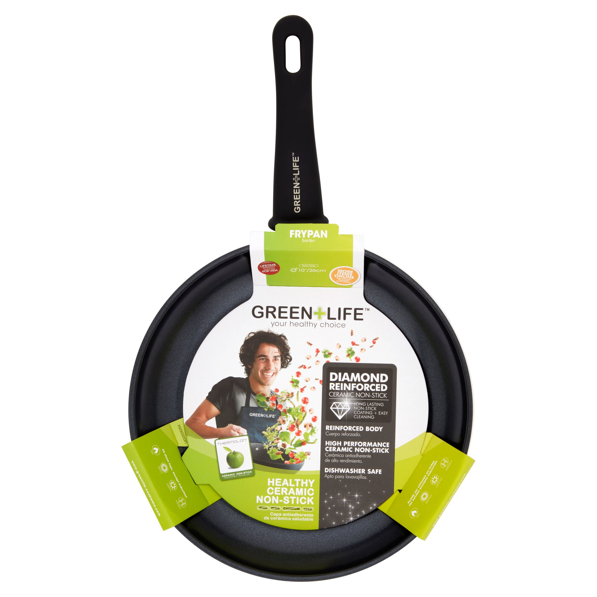 "GreenLife Healthy Ceramic Diamond Reinforced Non-Stick Soft Grip 10"" Frypan"
