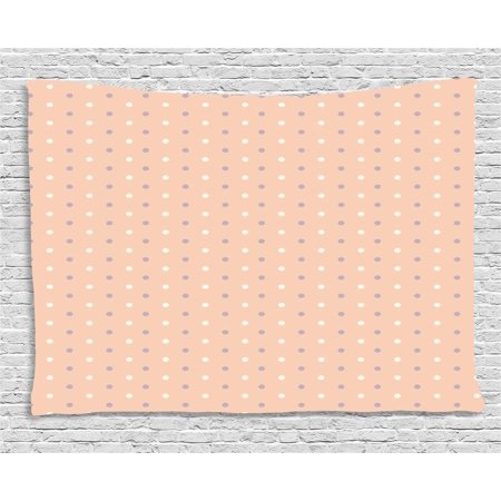 Pink Decor Tapestry, Romantic Vintage Classic 50s 60s Style Image with Dots Pattern Print, Wall Hanging for Bedroom Living Room Dorm Decor, 60W X 40L Inches, Salmon Lilac and White, by Ambesonne - 50's Style Home Decor