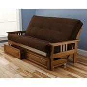 Andover Futon Frame And Drawer Set In Light Honey Oak Wood Suede Innerspring Mattress Com