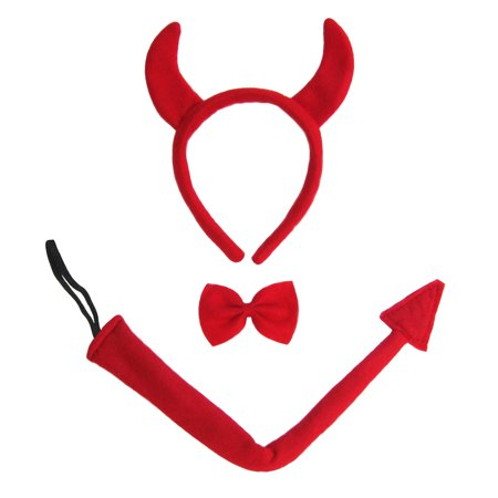 SeasonsTrading Devil Horns, Tail, & Bow Tie Costume Set (Costume Horn)