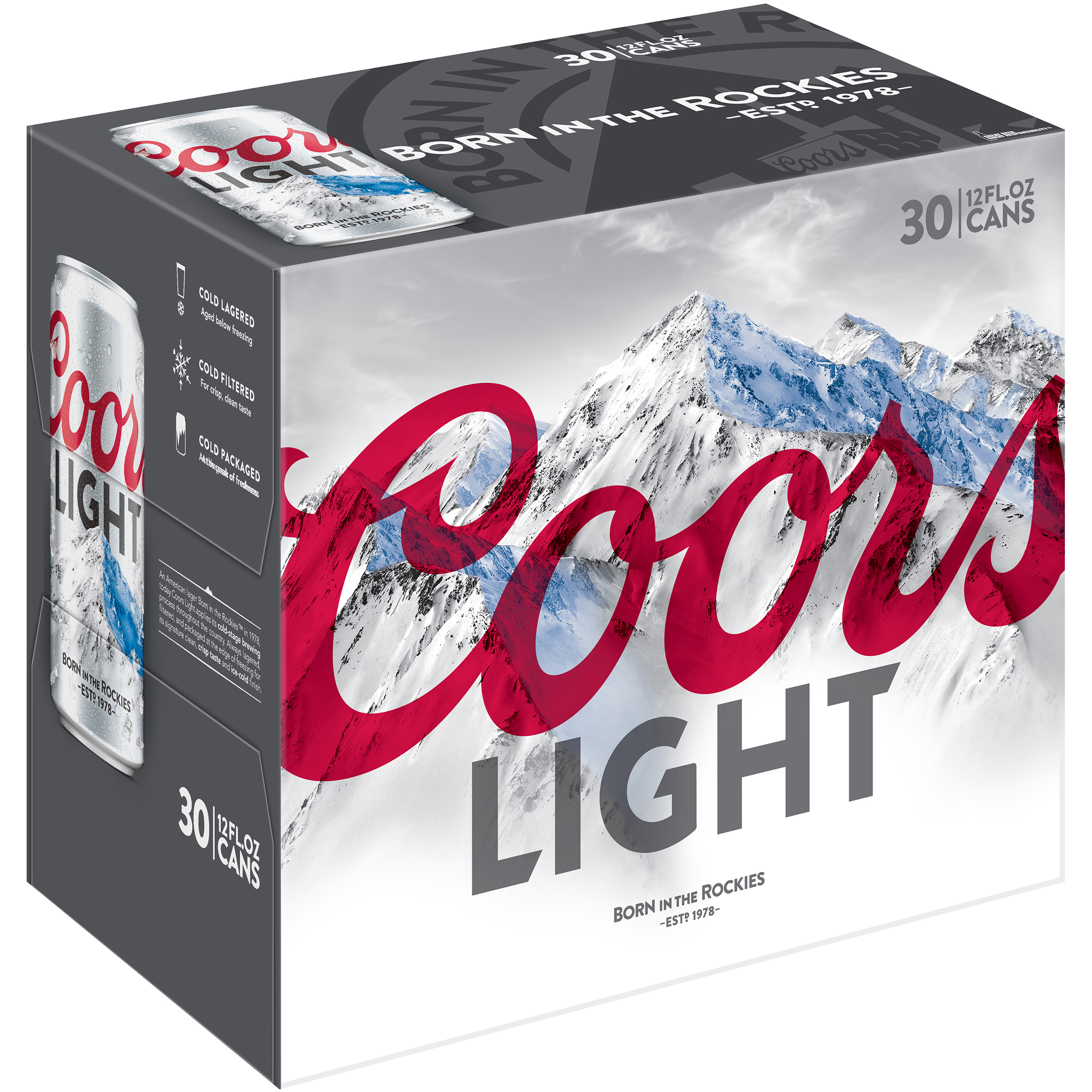 Coors Light Lager Beer, 30 Pack, 12 fl. oz. Cans, 4.2% ABV