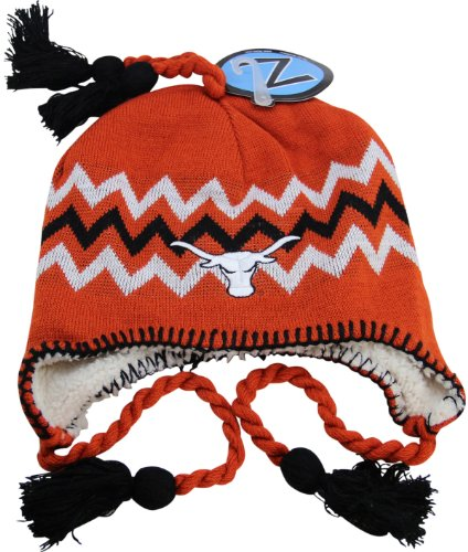 NCAA Zephyr Texas Longhorns Fully Lined Knit Beanie Hat with Ear Flaps by Zephyr