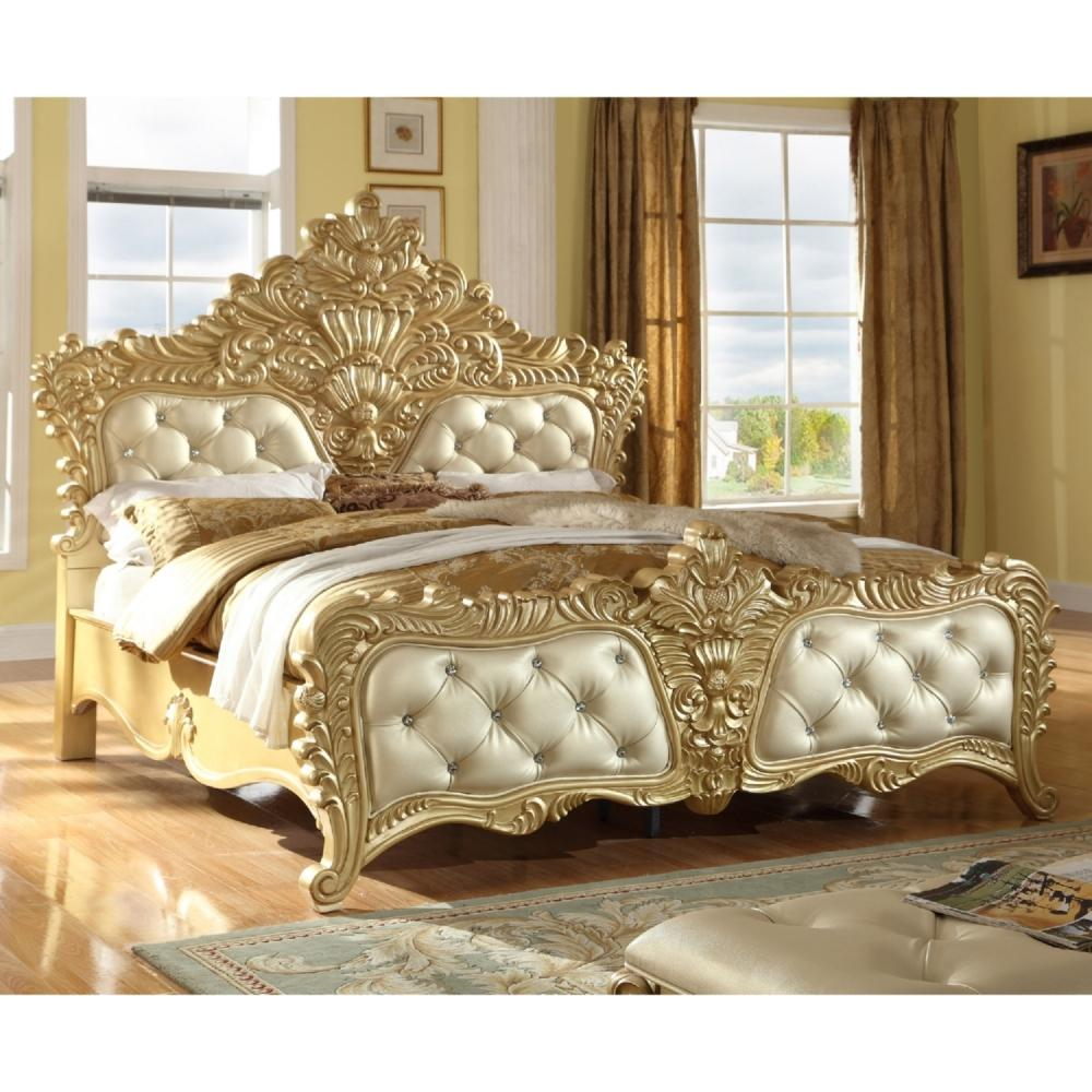 Meridian Zelda Queen Size Bed in Rich Gold Crafted Design