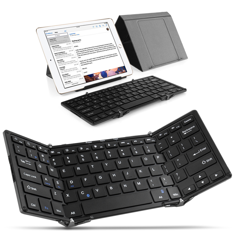 Foldable Full-size Wireless Bluetooth Keyboard - Ultra-slim Aluminum Portable Mini Keyboard Supports with Case Cover Stand for iPad iPhone iOS Android Tablet Smartphone Windows PC Mac