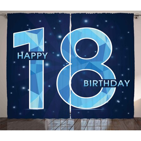 18th Birthday Decoration Curtains 2 Panels Set, 18 Years Birthday with Galaxy Star Like Dots Image, Window Drapes for Living Room Bedroom, 108W X 84L Inches, Dark Blue and Sky Blue, by Ambesonne