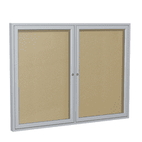 PA23648VX-181 Ghent 2 Door Enclosed Vinyl Bulletin Board with Satin Frame Wall Mounted TackBoard, 3'H x 4'W, Caramel
