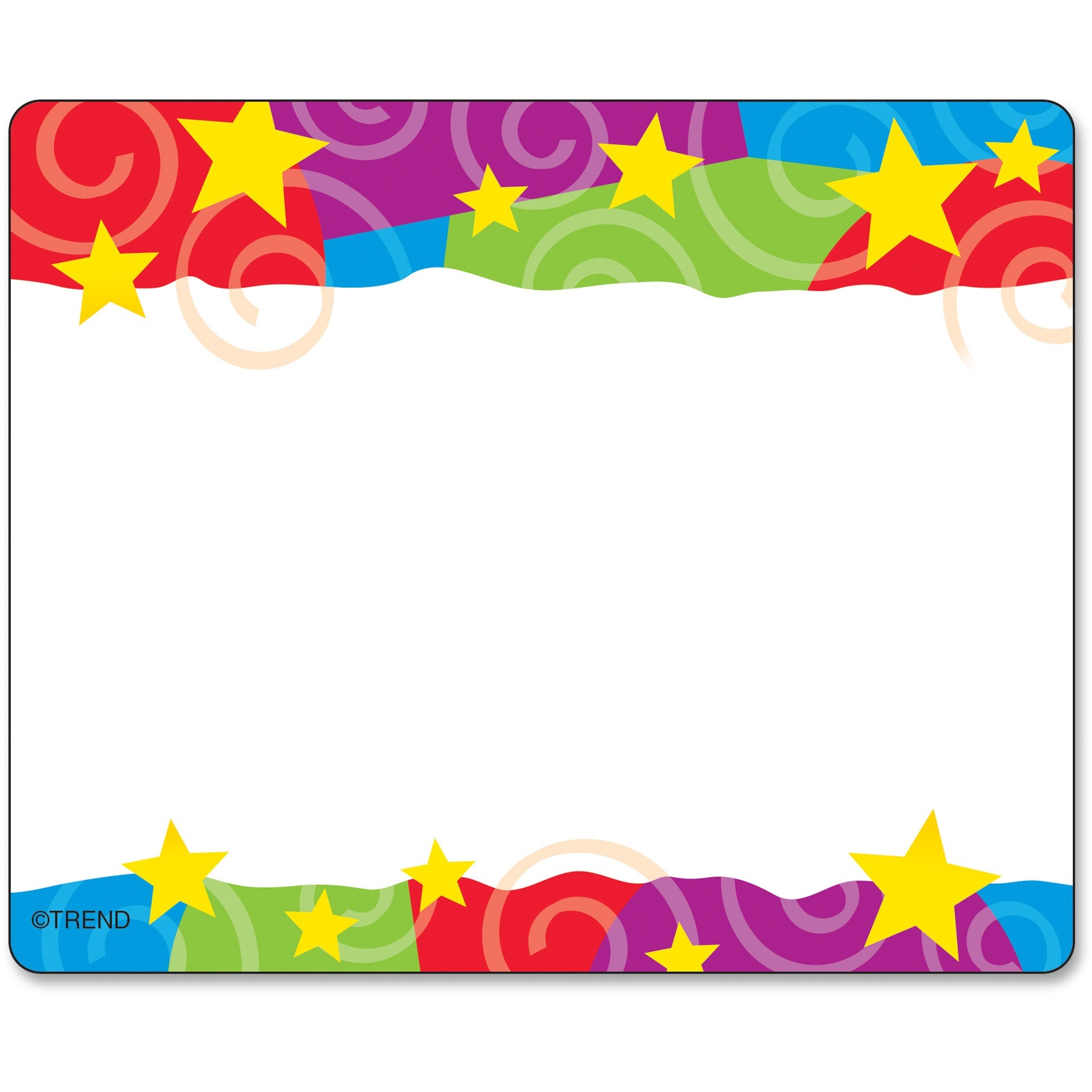 Trend, TEPT68070, Stars & Swirls Colorful Self-adhesive Name Tags, 36 / Pack, Assorted