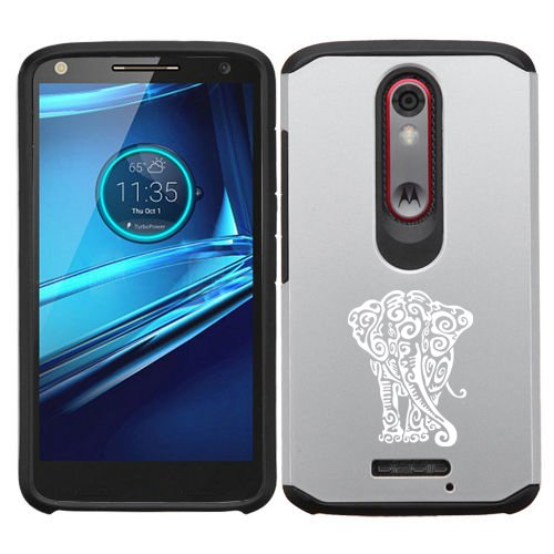 Motorola Droid Turbo 2 Shockproof Impact Hard Soft Case Cover Tribal Elephant (Silver)
