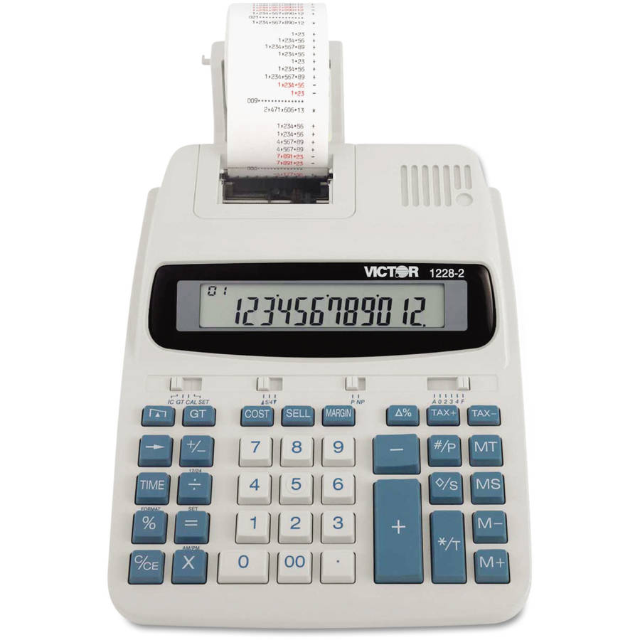 Victor 1228-2 Two-Color Roller Printing Calculator, Black/Red Print, 2.7 Lines/Sec
