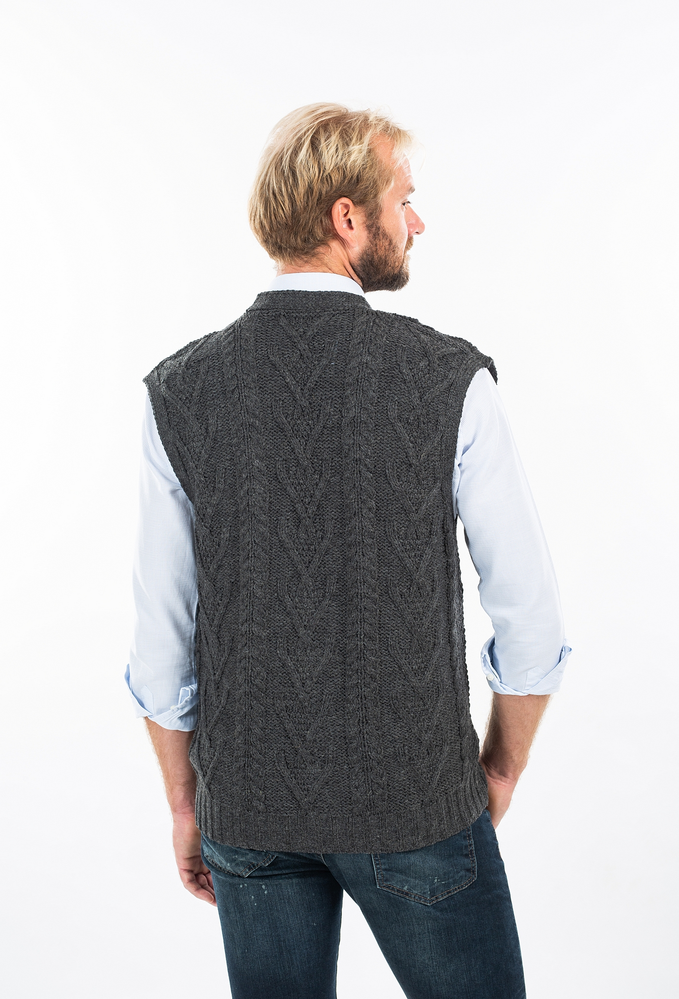 SAOL 100/% Merino Wool Mens V Neck Vest Sleeveless Irish Cable Knit Cardigan Sweater with Buttons and Pockets