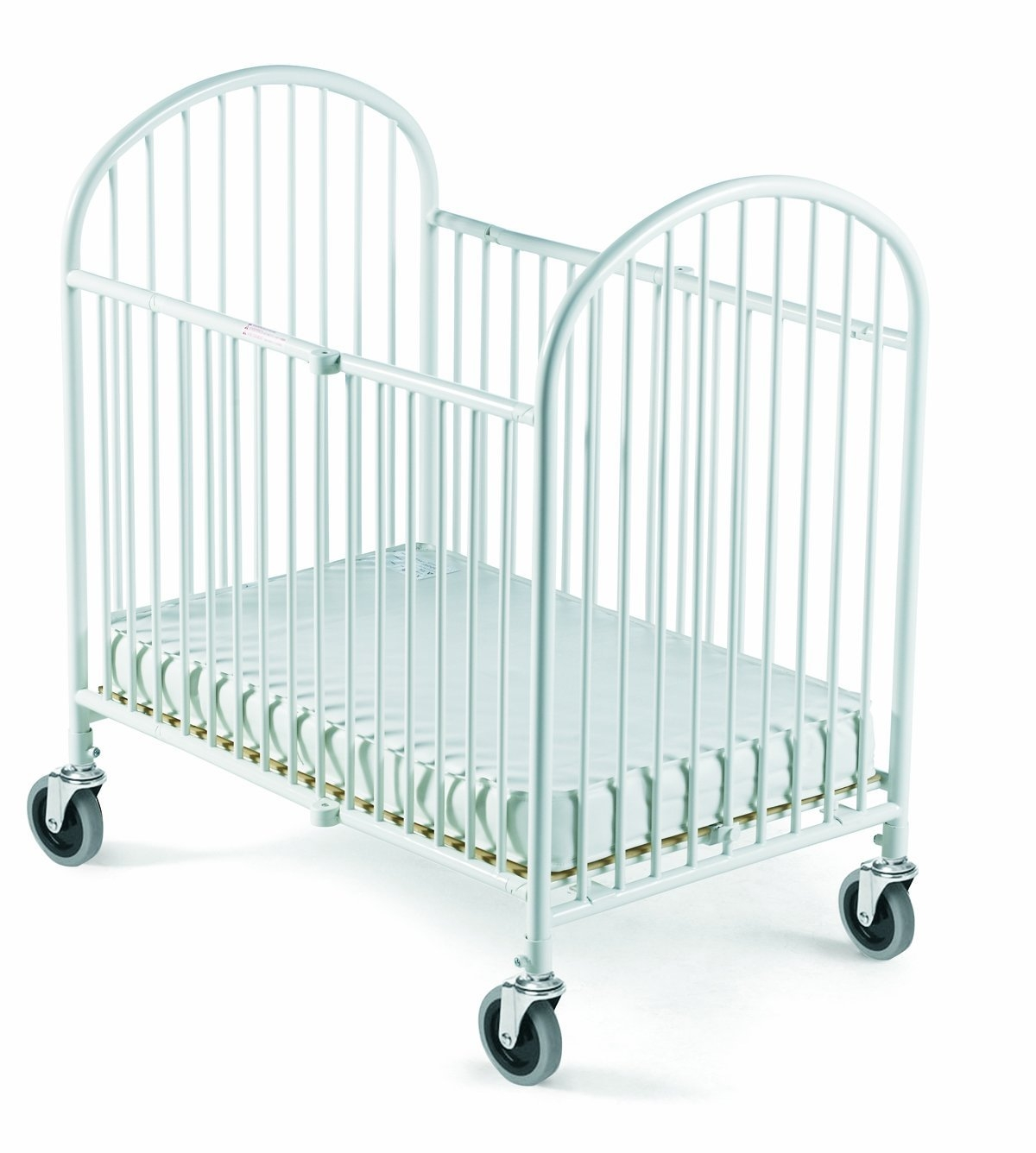 Foundations Pinnacle Folding Compact Steel Crib with Innerspring Mattress, White