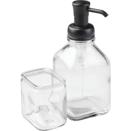 Interdesign Gl Soap Pump Dispenser Caddy Clear Matte Black