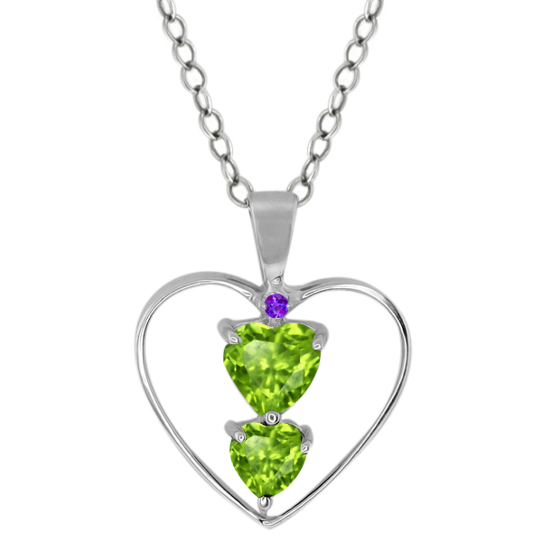 0.80 Ct Heart Shape Green Peridot Sterling Silver Pendant
