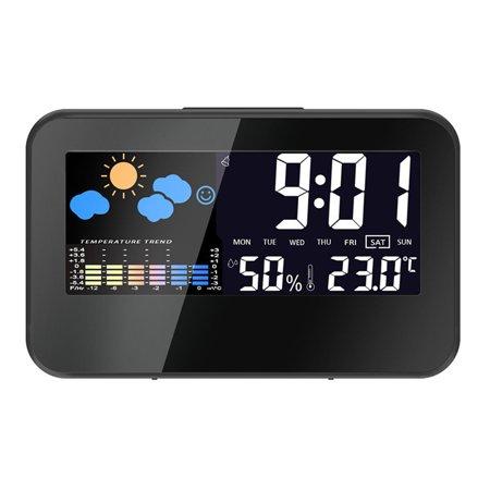 fashionhome Electric Desktop Clock Alarm Colorful LCD Screen Sound Control Backlight Digital Clock Date Time Calendar Desk Watch - image 1 of 8