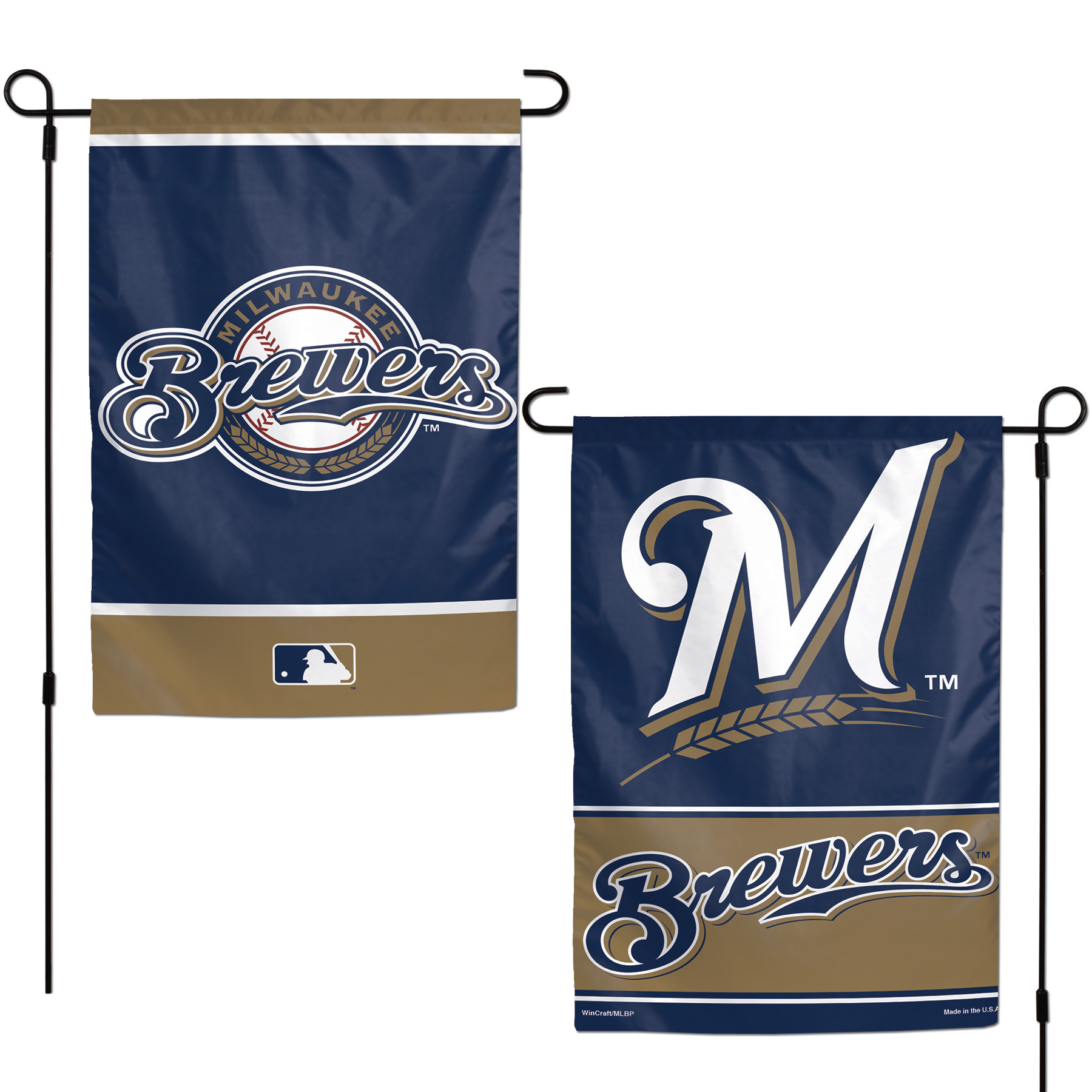 """Milwaukee Brewers WinCraft 12"""" x 18"""" Double-Sided Garden Flag - No Size"""