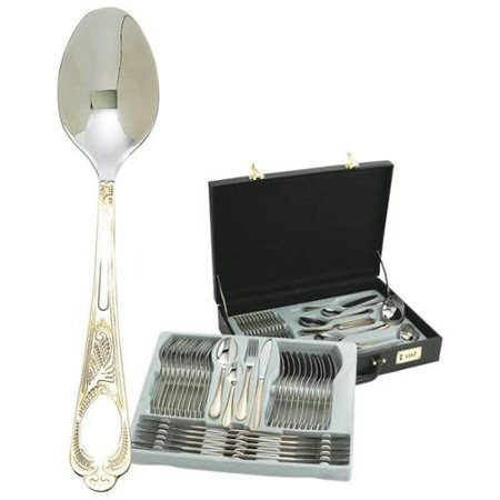 Sterlingcraft® High-Quality, Heavy-Gauge Stainless Steel 72pc Flatware and Hostess Set with Gold