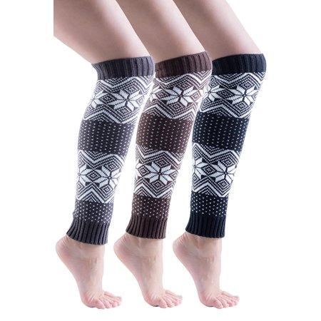 Fair Isle Tie (Sockbin Womens Fair Isle Warm Winter Legwarmers, Soft (3 Pack)