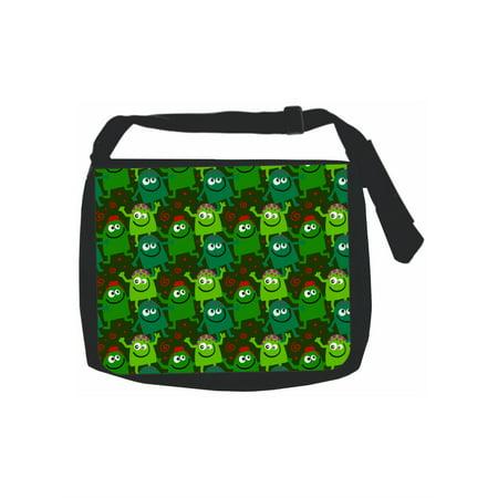 Cute Monsters Pattern Black School Shoulder Messenger Bag. Women Pu Leather  ... 775ade1e19945