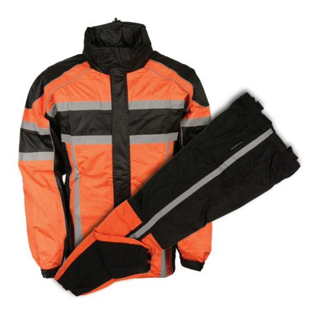 Milwaukee Mens Black & Orange Rain Suit Water Resitant w/Reflective Tape Orange (Milwaukee Motorcycle Clothing Suit)