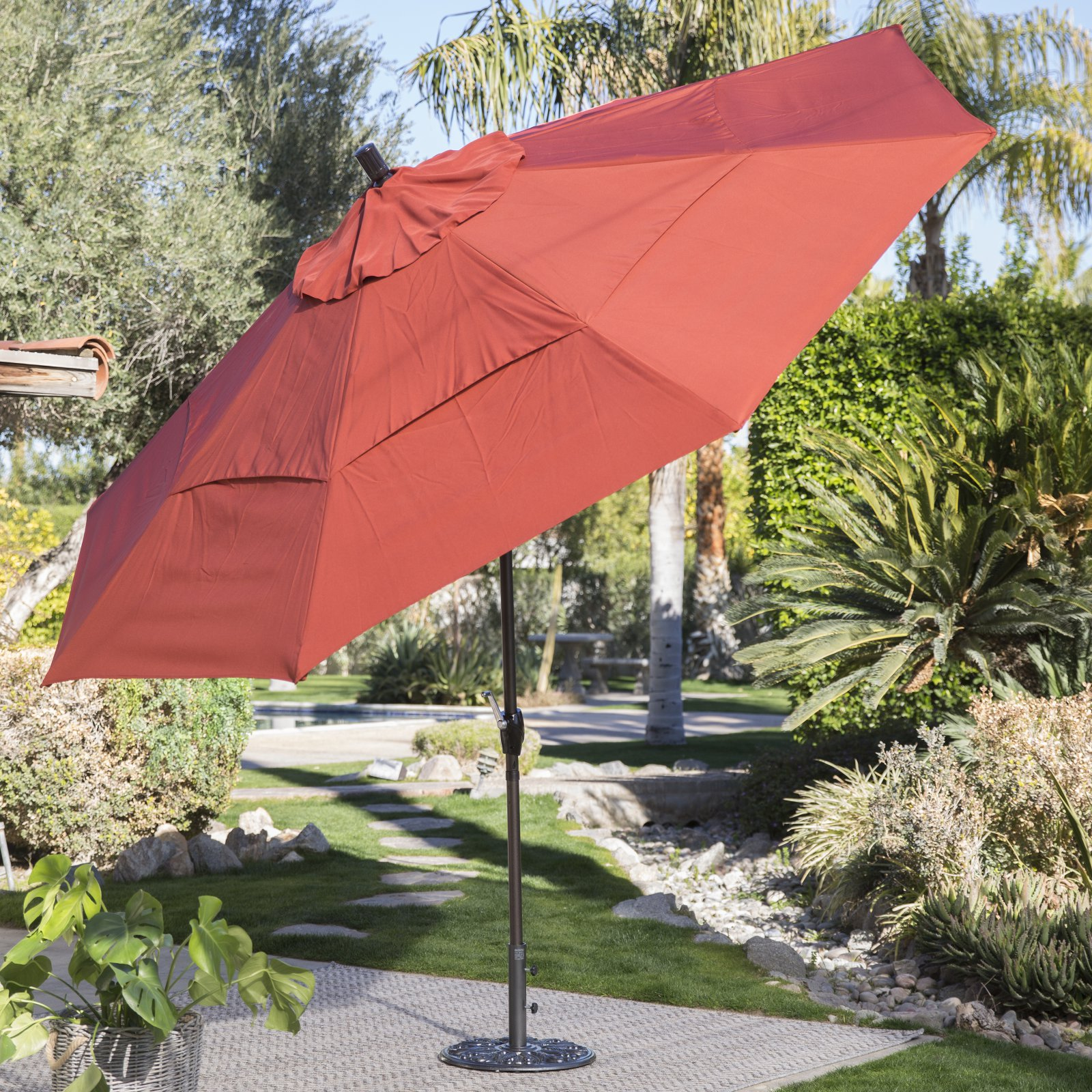 Coral Coast 11-ft. Spun Polyester Patio Umbrella with Push Button Tilt by