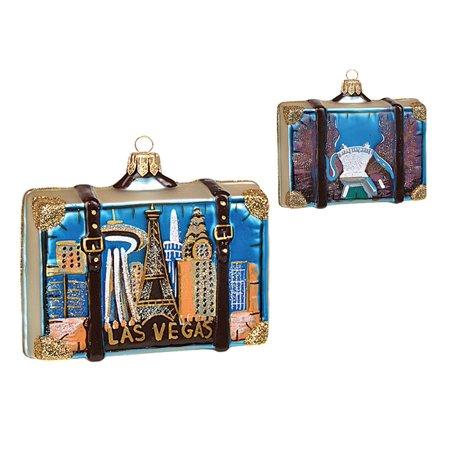 Las Vegas Nevada Travel Suitcase Polish Glass Christmas Ornament ONE Decoration - Las Vegas Decorations