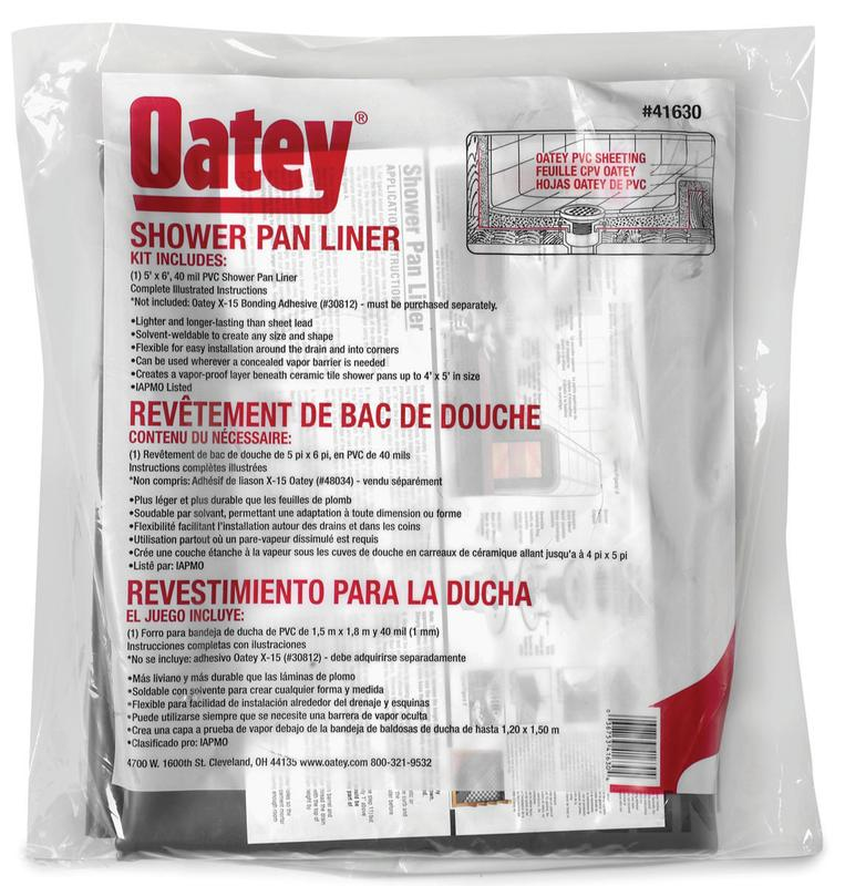 Oatey 41630 Shower Pan Liner Kit Without Dam Corners, 40 Mil T, 5 Ft