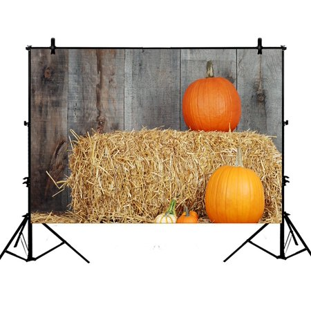 GCKG 7x5ft Pumpkins Haystack Autumn Harvest Wooden Wall Polyester Photography Backdrop Photo Background Studio Props - image 4 of 4