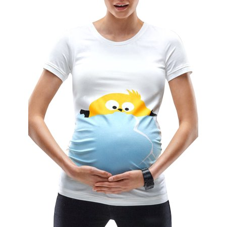 Funny Cartoon Prints White Maternity Soft (Kangaroo Maternity T-shirt)