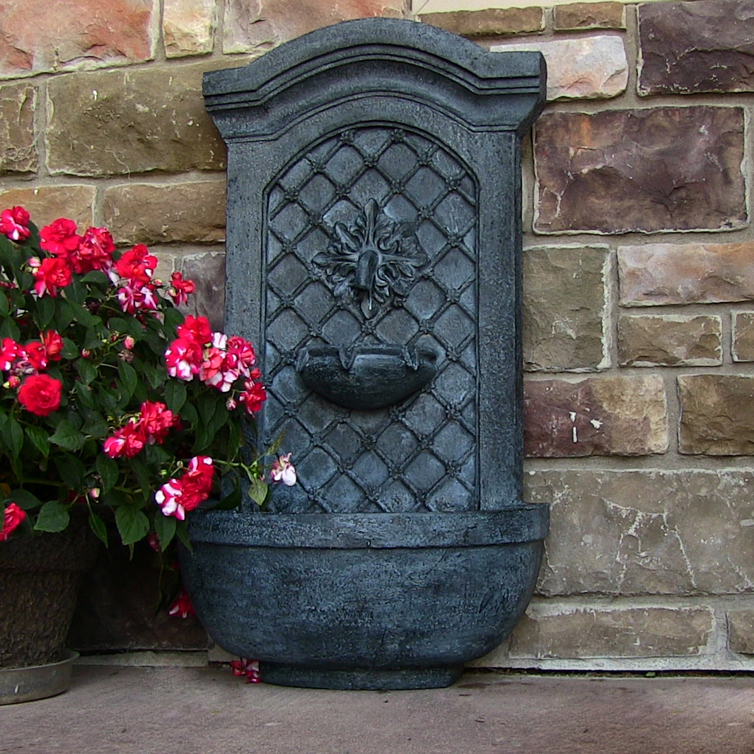 Sunnydaze Rosette Solar Wall Fountain, Lead, Solar Only Feature
