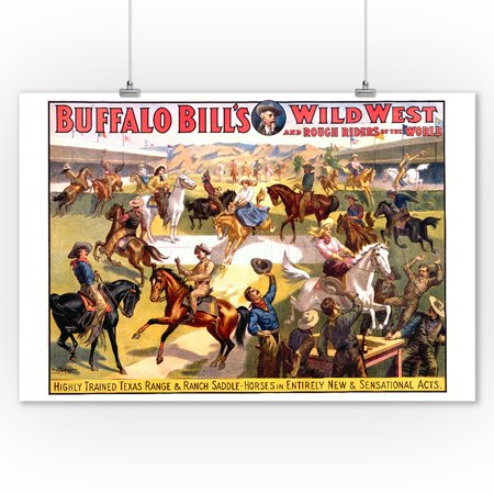 Vintage Saddle - Buffalo Bill's Wild West - Range & Ranch Saddle - Horses Vintage Poster USA (9x12 Art Print, Wall Decor Travel Poster)