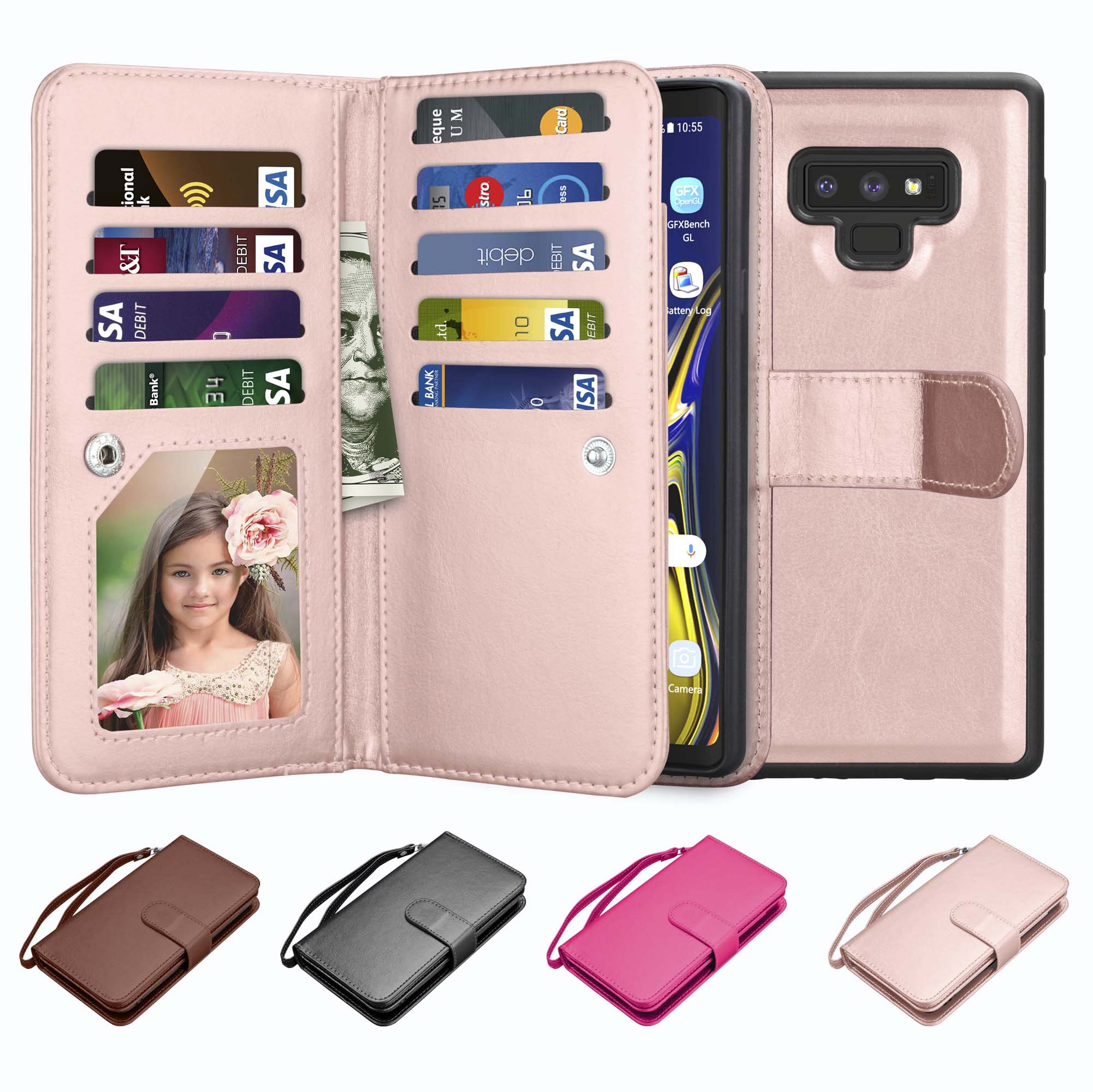 Galaxy Note 9 Case, Note 9 Wallet Case, Njjex Luxury PU Leather Wallet Case with ID&Card Holder Slot Detachable Magnetic Hard Case & Kickstand Case For Samsung Galaxy Note 9 -Rose Gold