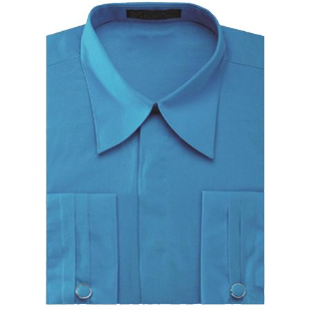 Collar White Shirt - Men's Pleated French Cuff Pat Riley Collar Dress Shirt with Cufflinks