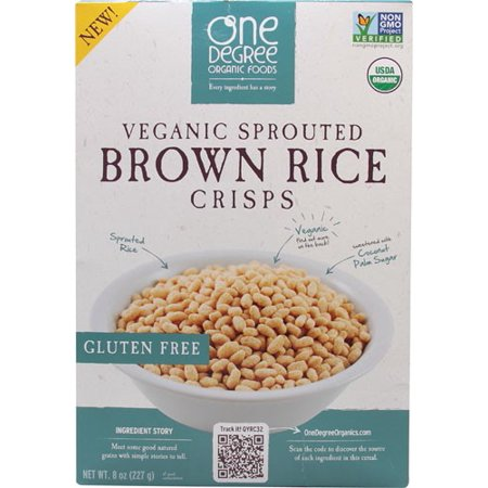 One Degree Organic Foods Gluten Free Cereal, Brown Rice Crisps, 8