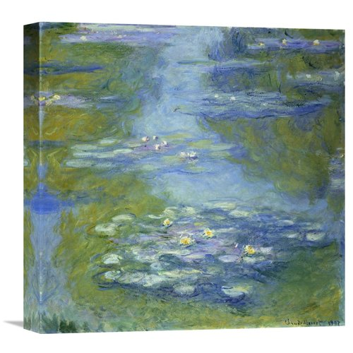 Global Gallery 'Water Lilies' by Claude Monet Painting Print on Wrapped Canvas