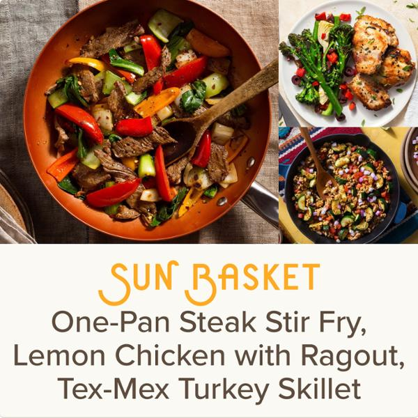 Sun Basket Meal Kits, 3 Recipes Serving 2, Paleo, Organic Produce