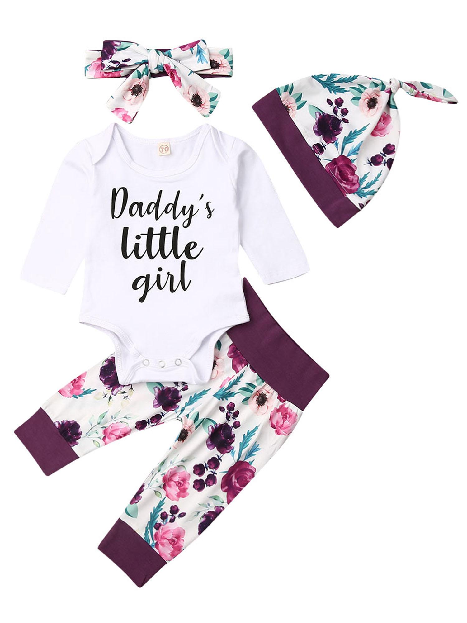 Latest Newborn Infant Baby Girl Romper Pink Top Jumpsuit Pant Outfit Clothes Set