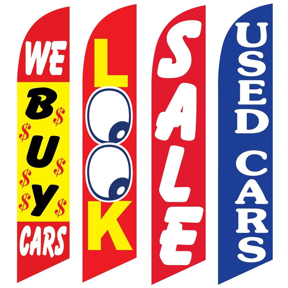 4 Advertising Swooper Flags We Buy Cars Look Sale Used Cars