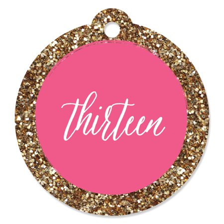 Chic 13th Birthday - Pink and Gold - Birthday Party Favor Gift Tags (Set of 20) (13th Birthday)