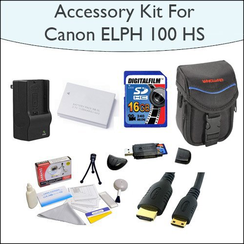 Advanced Accessory Kit With 16GB SDHC Memory Card, High Capacity NB-5L Replacement Battery, Slim Case, Mini HDMI Cable and Much More for Canon PowerShot ELPH 100 HS 12.1 MP CMOS Digital Camera