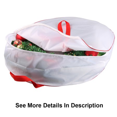 "Christmas Wreath Storage Bag 25""30""36""-Heavy Duty Xmas Wreath Container with Sleek Zipper-36"" White"