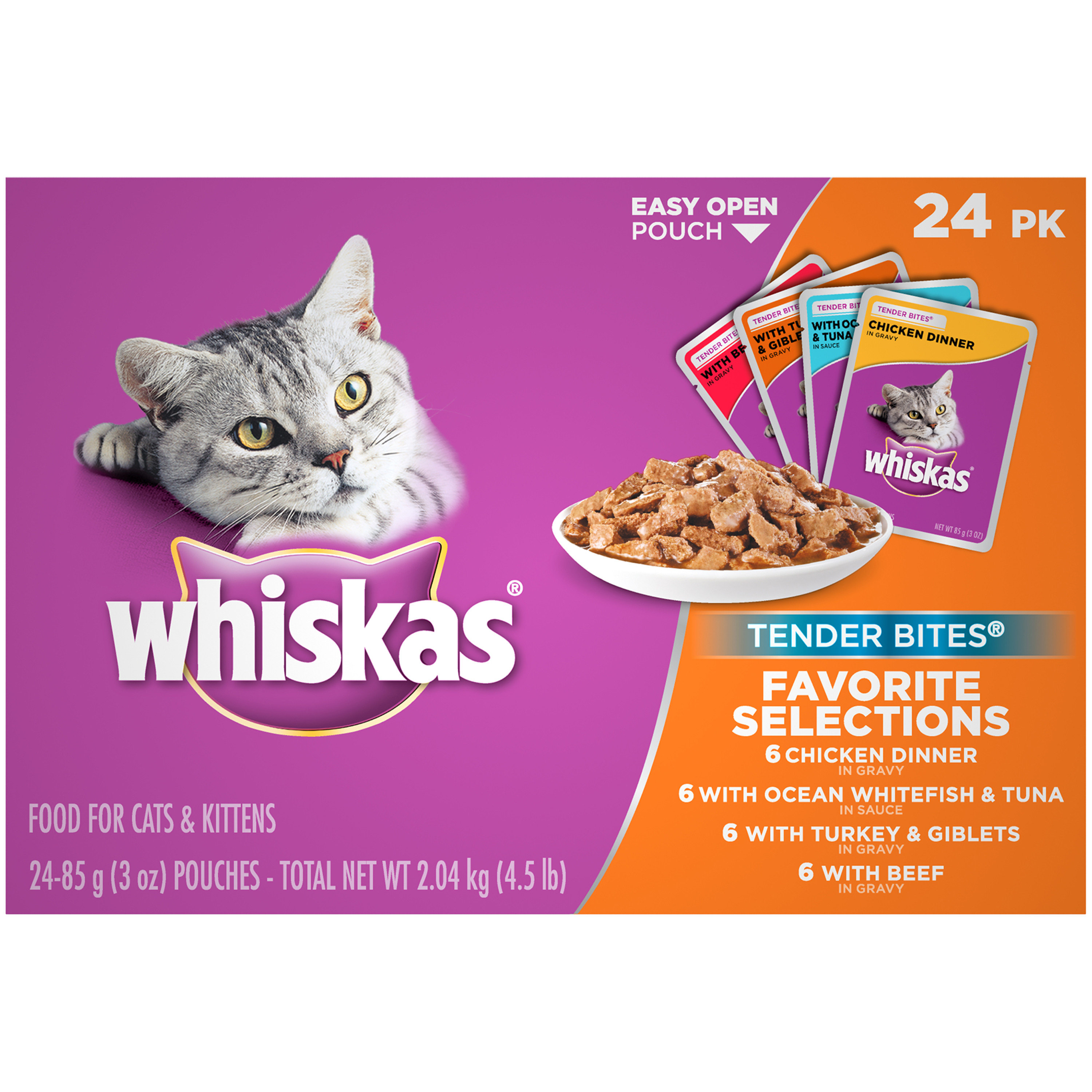 WHISKAS TENDER BITES Favorite Selections Variety Pack Wet Cat Food, (24) 3 oz. Pouches
